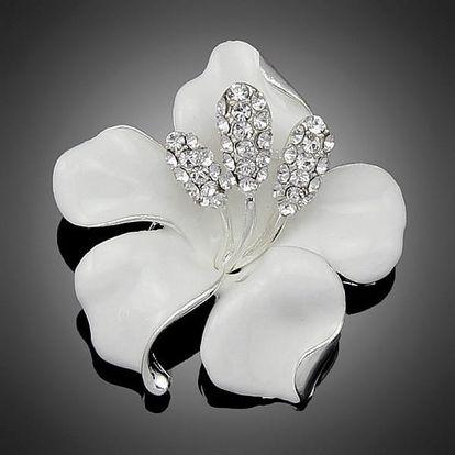 Třpytivá brož ve tvaru orchideje