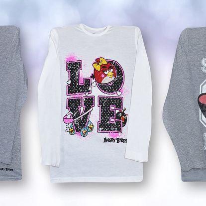 Dětská trička Angry Birds s dlouhým rukávem