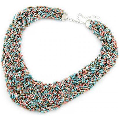 Masivní proplétaný náhrdelník z drobných korálků