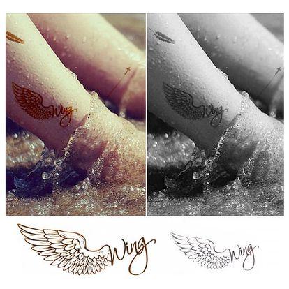 Dočasné tetování - Andělské křídlo s nápisem Wings - dodání do 2 dnů