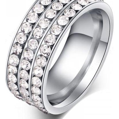 Dámský prsten - 3 řady kamínků