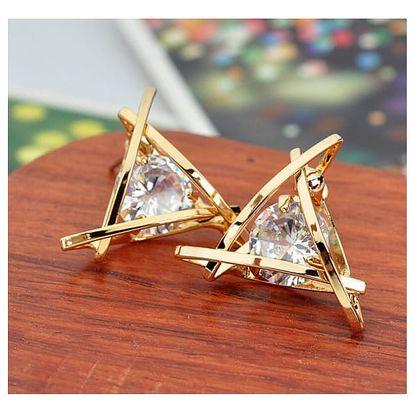 Náušnice ve tvaru trojúhelníku s kamínkem - 2 barvy