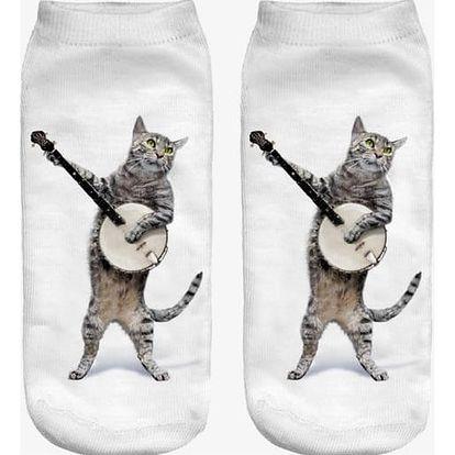 Kotníkové ponožky s realistickým potiskem koček - více motivů