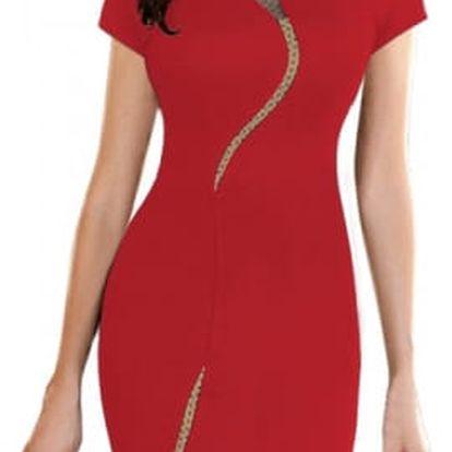 Pouzdrové šaty se síťovou linkou - 2 barvy