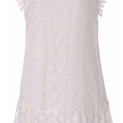 Bohémské letní šaty s krajkou a bambulkami - 2 barvy