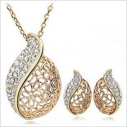 Šperková sada s kamínky ve tvaru kapek - zlatá barva