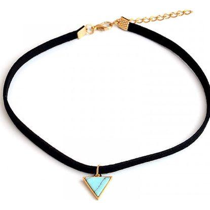 Choker náhrdelník s kamínkem ve tvaru trojúhelníku - 2 barvy