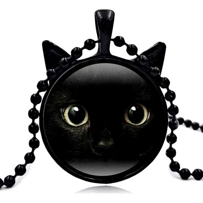 Náhrdelník s přívěskem černé kočičky - 3 barvy