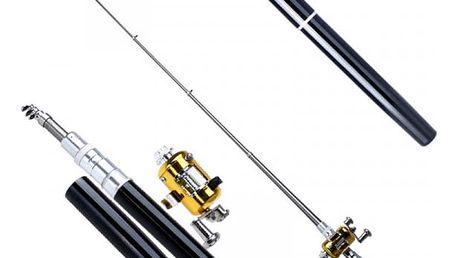 Přenosný rybářský prut s navijákem a pouzdrem