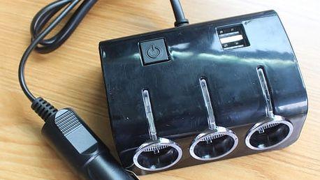 Podsvícený rozbočovač automobilové zásuvky s USB