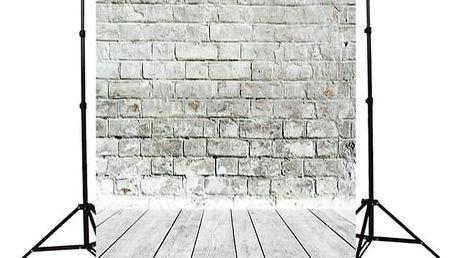 Ateliérové fotopozadí 1,5 x 2,1 m - Šedá cihlová zeď s dřevěnou podlahou