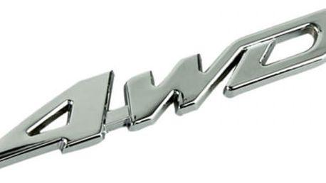 Kovová nálepka na automobil - 4WD