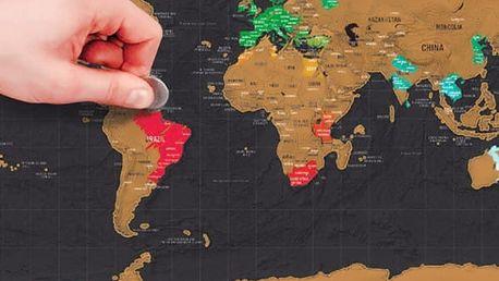 Stírací mapa světa na zeď - 82,5 x 59,5 cm