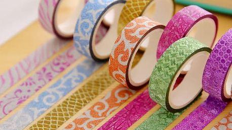 Dekorativní lepící stuha - glitry a různé vzory, 10 ks