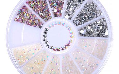 Dekorativní kamínky na nehty - sada s více barvami