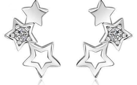 Dámské náušnice ve stříbrné barvě - Seskupení hvězd