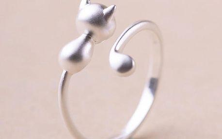 Nastavitelný prsten s kočičkou