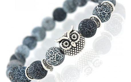Náramek z kamínků se symbolem moudrosti v podobě sovy - více druhů