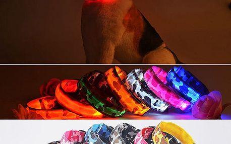 Svítící LED obojek pro pejsky s vojenským vzorem