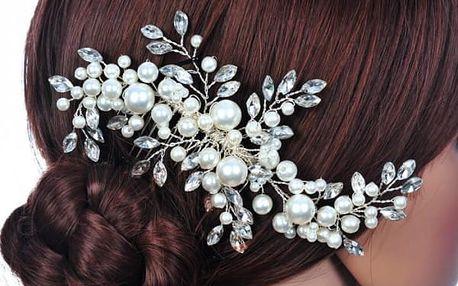 Ozdoba do vlasů ve tvaru květiny s perličkami