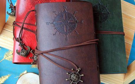 Cestovatelský deník v kožených deskách - tmavě hnědá - dodání do 2 dnů