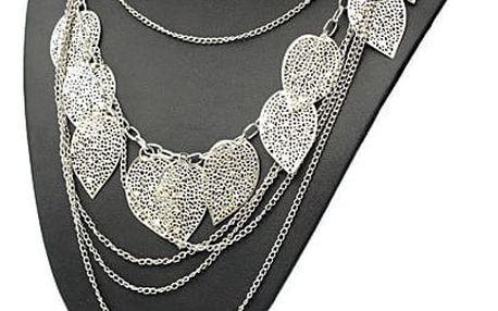 Výrazný vícevrstvý náhrdelník s lístky - dodání do 2 dnů