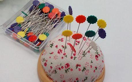 Špendlíky na patchwork s barevnou hlavičkou 50 ks