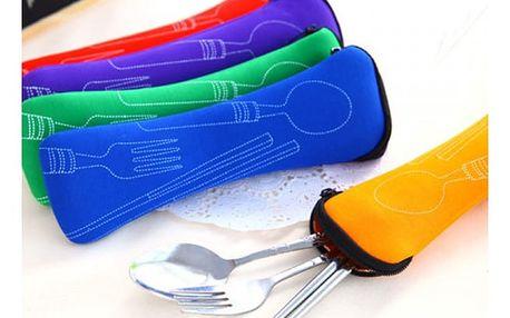 Kempingový příbor s čínskými hůlkami v pouzdře - více barev