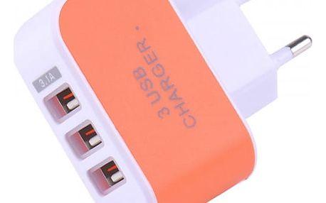 Nabíjecí USB adaptér se třemi porty - různé barvy