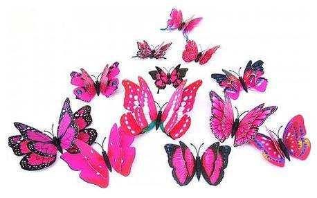 Balení samolepicích 3D motýlů - mix barev