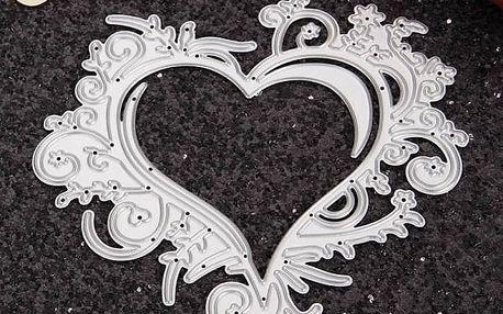 Kovová šablona pro kreativní tvoření - Obrostlé srdce