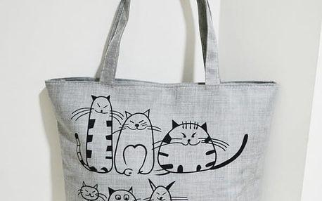 Prostorná taška na zip s motivem koček