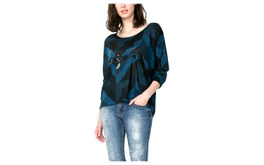 Desigual modré vzorované triko Mabel - L