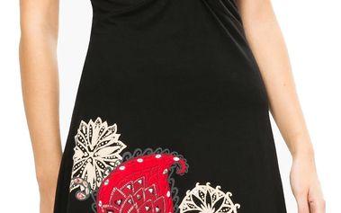 Desigual černé šaty Patsy s barevnými vzory - XS