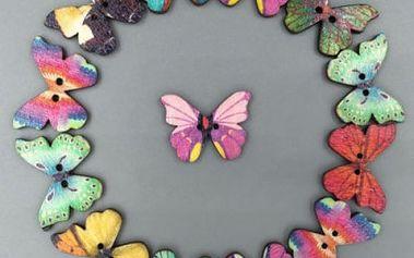 Dřevěné knoflíky v podobě motýlů - 50 kusů - dodání do 2 dnů