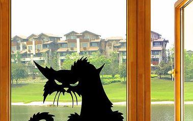 Vzteklá kočka - samolepka na okno - dodání do 2 dnů