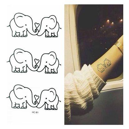 Dočasné tetování - Zamilovaní sloníci - dodání do 2 dnů