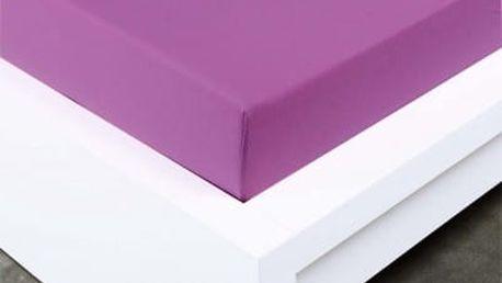 XPOSE ® Bambusové jersey prostěradlo dvoulůžko - fialová 200x220 cm