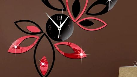 Designové nástěnné hodiny s lístečky - na zeď