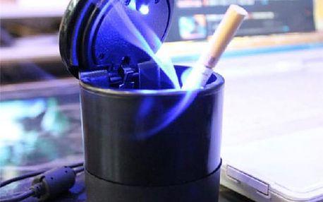 Přenosný popelník s LED světlem do auta