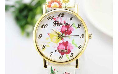 Květinové hodinky s ciferníkem ve zlaté barvě