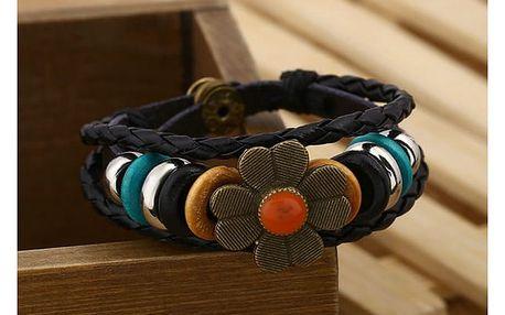 Korálkový vícevrstvý náramek s květinou - 6 barev
