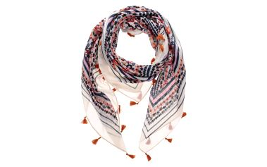 Modro-krémový květovaný šátek Pieces Misja