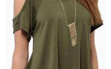 Dámské volné tričko s otvory na ramenou - 4 barvy