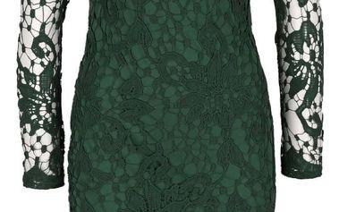 Zelené krajkové šaty s dlouhým rukávem AX Paris