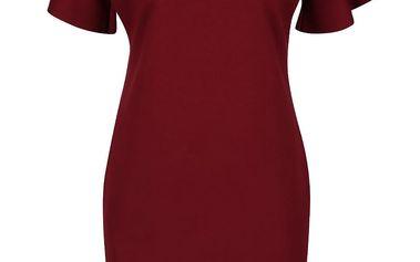 Vínové šaty s véčkovým výstřihem a volány Alchymi Gaspra