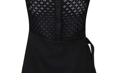 Černé zavinovací šaty s límečkem LYDC