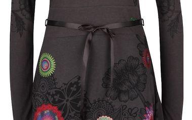Šedé šaty se stuhou a barevnými ornamenty Desigual Newa
