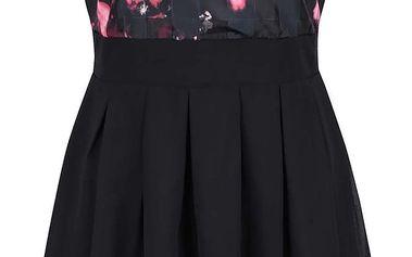 Černé šaty s červeným vzorem a mašlí Apricot