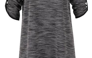 Šedé žíhané volné šaty s 3/4 rukávy Alchymi Anura